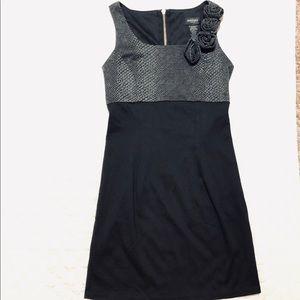 Alyn Paige greyish black dress